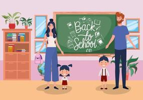 Cute family in the classroom vector