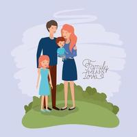 family day card with parents and kids in the field vector