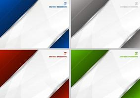 Set of abstract template blue, gray, red and green with white diagonal overlapping layers background with with silver line decoration. technology futuristic concept. vector