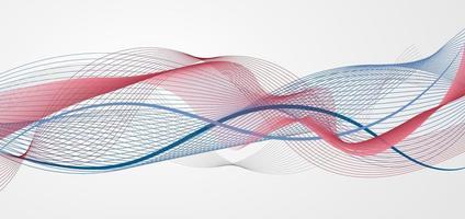 Onda azul y roja abstracta o línea ondulada sobre fondo blanco. vector