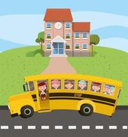 school building and bus with kids in the road scene vector