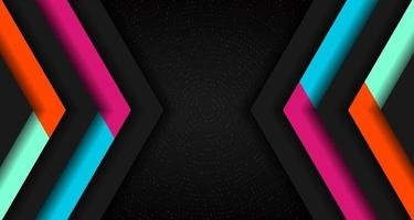 Abstract vibrant color triangle geometric overlap layer on glowing particles dots black background technology concept. vector