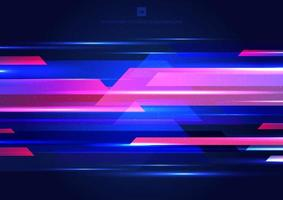 Abstract blue and pink geometric motion with lighting glow colorful on dark background technology modern style vector