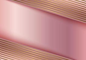 Abstract golden line on stripes pink gold background template design vector