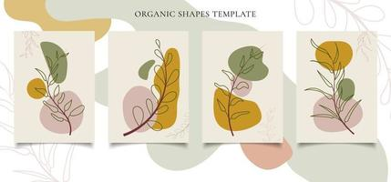 Set of brochure or poster template contemporary botanical wall art vector