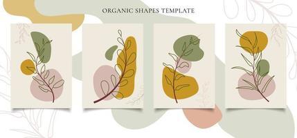 Conjunto de plantilla de folleto o cartel arte de pared botánico contemporáneo vector