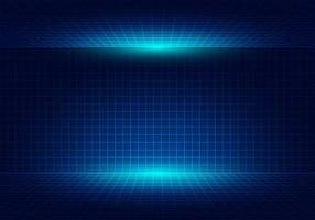 Abstract blue grid perspective design background with lighting. vector