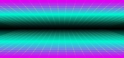 Abstract 90s retro style technology futuristic concept grid perspective on black background