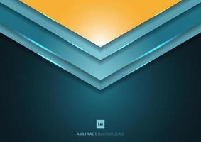 Abstract 3D blue angle arrow triangle shapes overlapping layers on dark background vector
