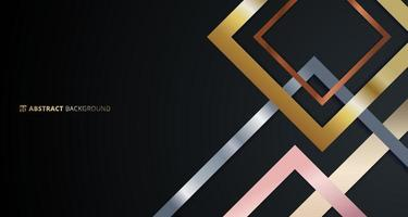 Abstract geometric square border pattern golden, silver, pink gold metallic overlapping on black background. vector