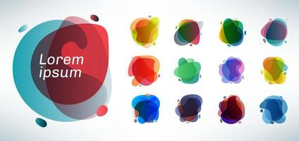 Set of organic layered shape with effect translucent colorful background vector