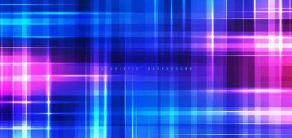 Abstract technology futuristic background neon lights effect shiny striped lines blue and pink gradient color. vector