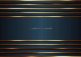 Dark blue stripes with gold lines lighting overlapping layer background luxury style vector