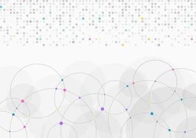 Abstract background light gray white pixel data and circle digital transfer vector