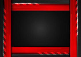 Abstract technology concept geometric black and red frame with lighting on dark background vector