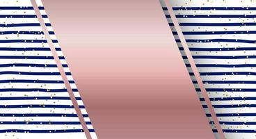 Abstract blue stripes pattern and gold glitter background with pink gold label vector