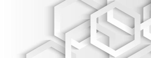 Capa superpuesta hexagonal geométrica blanca y gris abstracta con fondo de sombra vector