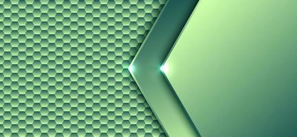 Abstract technology digital concept green gradient hexagonal element pattern with light artwork design background and texture vector