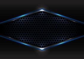 tecnología abstracta concepto futurista negro y gris superposición metálica marco de luz azul diseño de malla hexagonal fondo y textura modernos vector