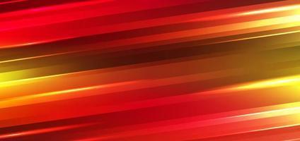 tecnología abstracta fondo de movimiento futurista efecto de luces de neón líneas de rayas brillantes degradados de color rojo y amarillo. vector