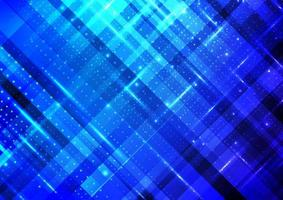 Abstract technology digital futuristic different neon glowing dots particles with lighting on blue stripes background vector