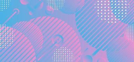 Fondo de patrón de forma de círculo geométrico degradado azul y rosa abstracto vector