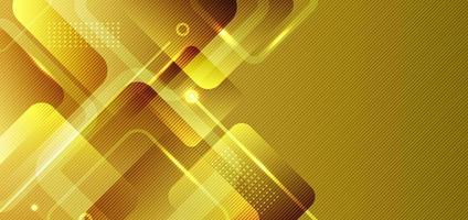 Abstract banner web background yellow, gold geometric square shapes composition with glowing light. vector