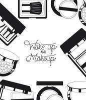 fondo de marco de productos de maquillaje vector