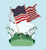 united states of america flag waving in the field vector