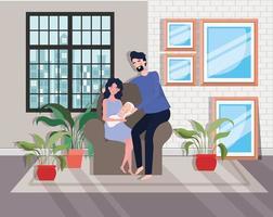 linda pareja de padres con bebé recién nacido vector