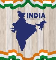 indian map independence day with flags wooden background vector