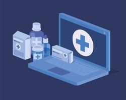 laptop telemedicine service icon vector