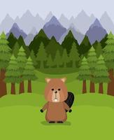 Beaver animal and pine trees design vector