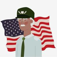 memorial day card with afro veteran and usa flag vector