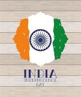 feliz día de la independencia de la india con la rueda de ashoka vector