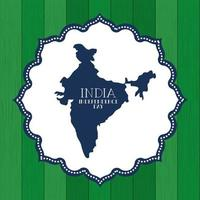 Indian map independence day vector