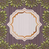 golden elegant frame with herbal and wooden background vector