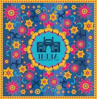 templo de la mezquita india con fondo floral vector