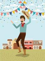 young farmer celebrating with garlands and cityscape