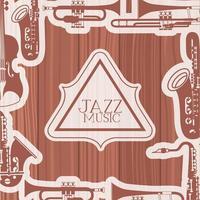 marco del día del jazz con instrumentos y fondo de madera vector