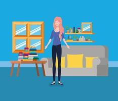 young woman standing in the living room vector