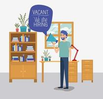 man using megaphone with we are hiring message in the office vector