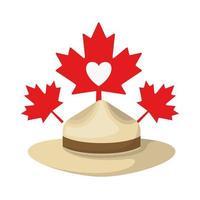 Sombrero de hoja de arce y diseño de símbolo de Canadá vector