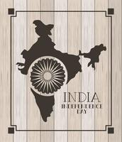 indian map with wooden background independence day vector
