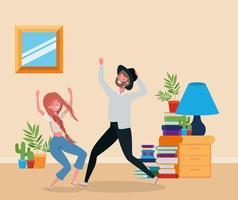 pareja joven bailando en la sala de estar vector