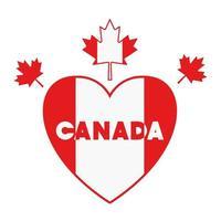 Corazón de hoja de arce y diseño de símbolo de Canadá vector