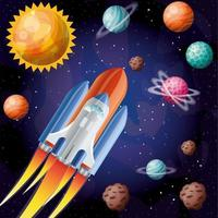 Rocket with flame and planets design vector illustration