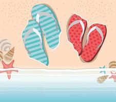 chanclas de verano en el diseño de la playa vector