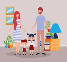 teacher couple with little students kids in room vector
