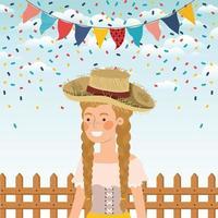 agricultora celebrando con guirnaldas y valla vector